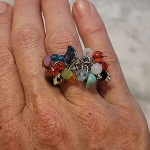 Multi color beads adjustable size ring